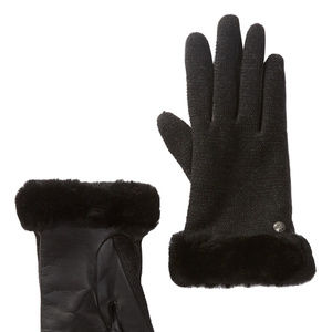 UGG TECH ENABLED KNIT LEATHER SHEARLING GLOVES NEW